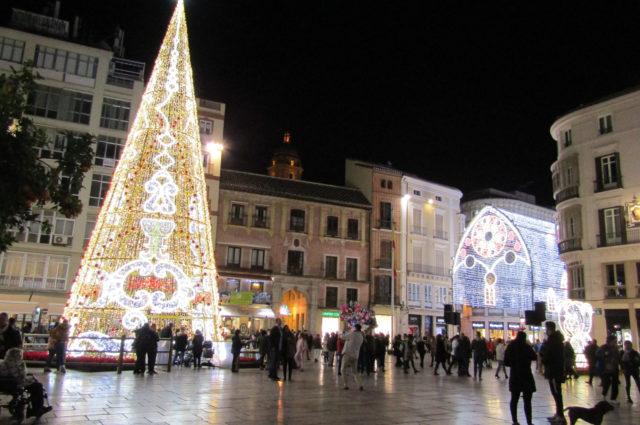 Plaza de la Constitución Málaga en Navidad